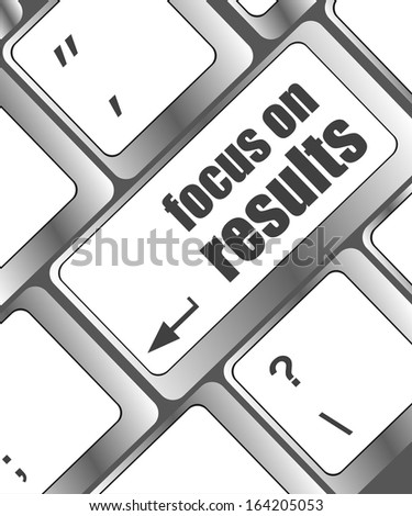 Modern keyboard focus on results text. Technology concept, raster - stock photo