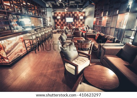 Modern Kiev's restaurant with with nice and bright interior - stock photo