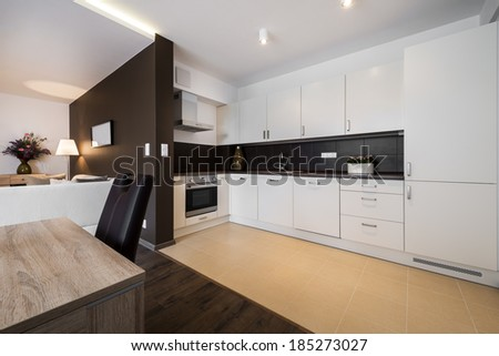 Modern kitchen and living room interior design  - stock photo