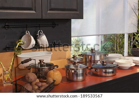 Modern kitchen at home with healthy food kitchen interior - stock photo