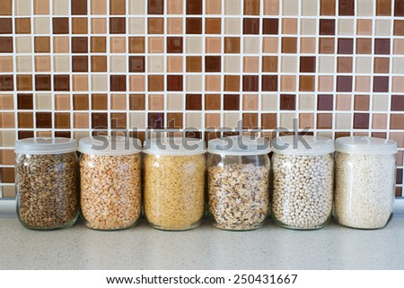 Modern kitchen countertop with food ingredients - stock photo