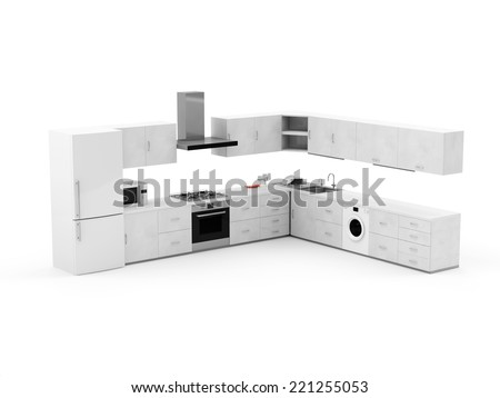 Modern Kitchen 3D Interior isolated on white background - stock photo