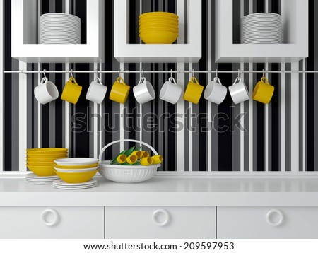 Modern kitchen design with white furniture. Ceramic kitchenware on the worktop in front of striped wall. - stock photo