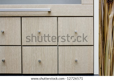 modern kitchen drawers details image - stock photo