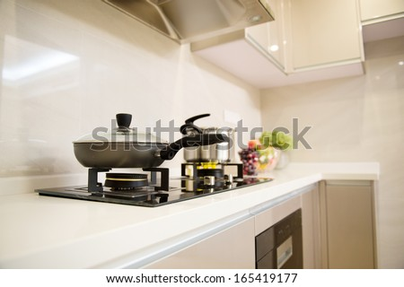 modern kitchen in a modern home. - stock photo