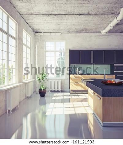modern kitchen in loft interior (3d illustration) - stock photo
