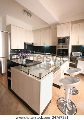 Modern kitchen interior - stock photo