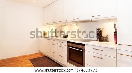 modern kitchen interior banner - stock photo