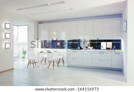 modern kitchen interior. design concept - stock photo