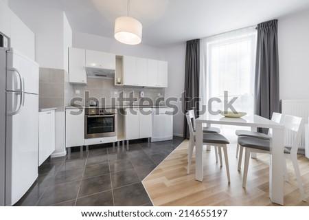 Modern kitchen interior design in white color - stock photo