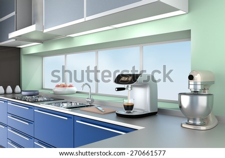 Modern kitchen interior in blue color theme. 3D rendering image . - stock photo