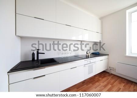 modern kitchen interior in minimalism style - stock photo