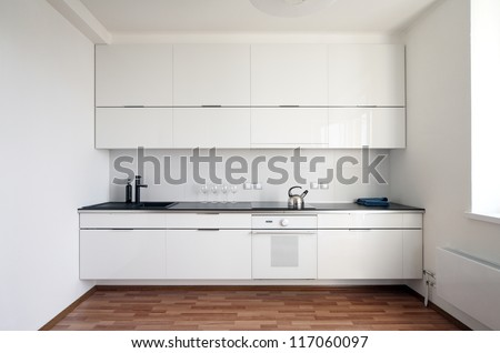 modern kitchen interior in minimalism style - stock photo