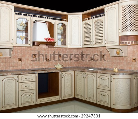 Modern kitchen interior on black - stock photo
