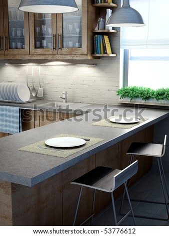 Modern kitchen interior view - stock photo