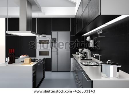 Modern kitchen interior with smart appliances in black color coordination. 3D rendering image. - stock photo