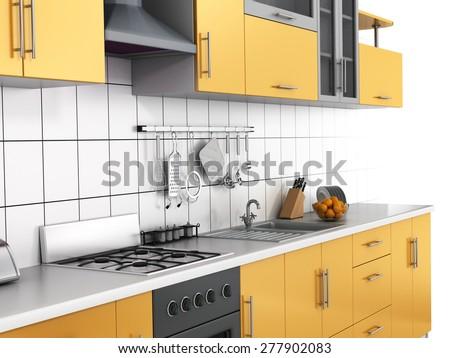 Modern kitchen on the white background. - stock photo