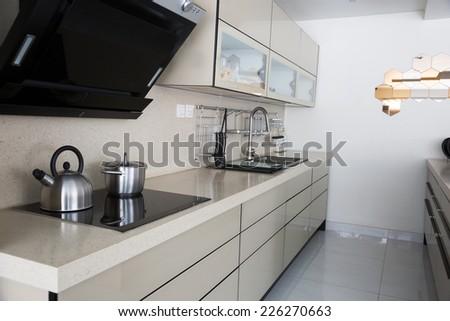 modern kitchen set up - stock photo