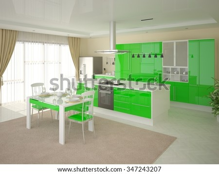 Modern kitchen with bright green furniture, 3d rendering. - stock photo