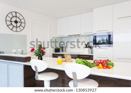 Modern kitchen with groceries - stock photo