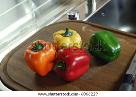 modern Kitchen with pepper - stock photo