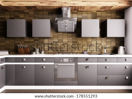 Modern kitchen with sink,gas cooktop and hood interior - stock photo