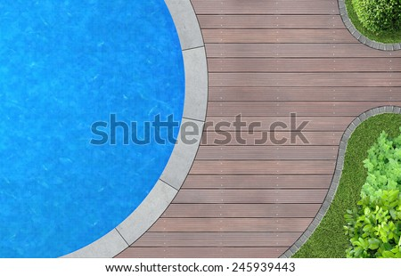 modern landscape architecture with swimming pool from above  - stock photo