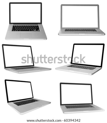 modern laptop computer isolated on white background . - stock photo