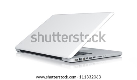 Modern Laptop. High resolution illustration isolated on white, clipping path included. - stock photo