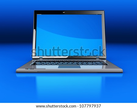 Modern laptop isolated on a blue  background - stock photo