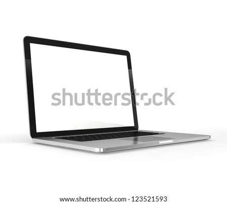 Modern laptop. Isolated on white. - stock photo
