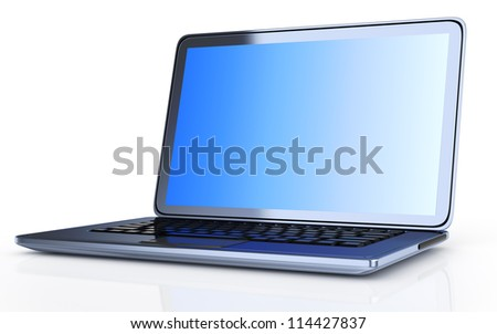 modern laptop isolated on white background. 3d render - stock photo