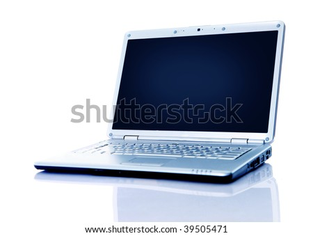 Modern laptop isolated on white with reflections on glass table. - stock photo