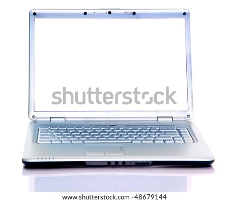 Modern laptop isolated on white with reflections on glass table - stock photo
