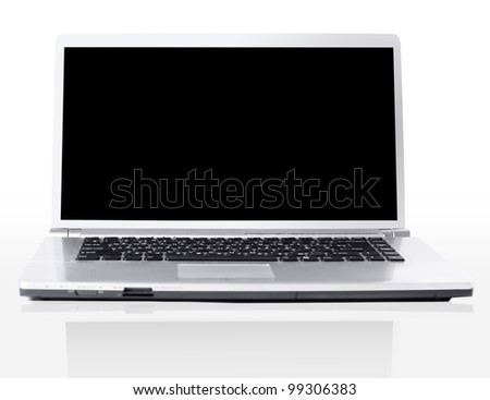 modern laptop isolated on white with shadow - stock photo