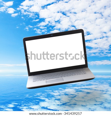 Modern laptop on sea background. Front view unusual perspective. Flat mock up for design. - stock photo