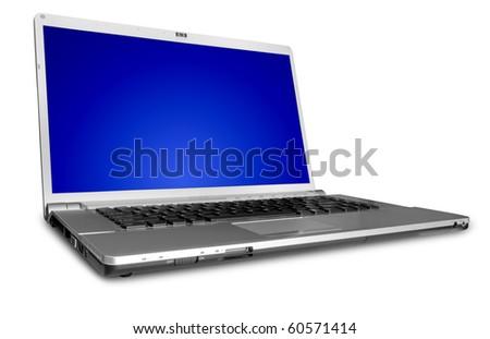 modern laptop on the white - stock photo