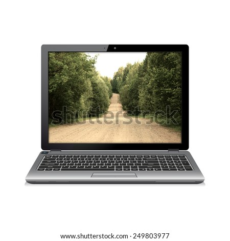 Modern laptop with country road on screen - stock photo