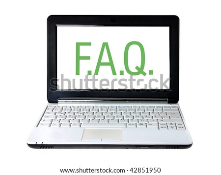 Modern laptop with FAQ text on screen isolated on white - stock photo