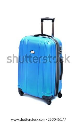 modern large suitcase on a white background - stock photo