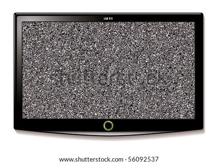 Modern LCD television with static interference and wide screen mode - stock photo