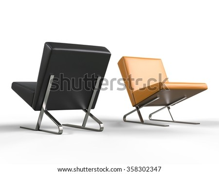 Modern leather armchairs - stock photo