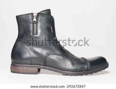 modern leather boot shoe isolated - stock photo