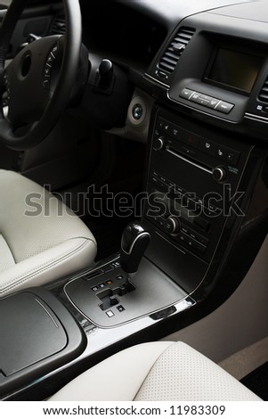 Modern leather interior of the new car - stock photo