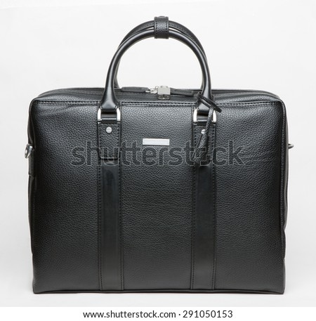 modern leather men bag isolated - stock photo