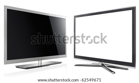 Modern LED tv panel on the white - stock photo