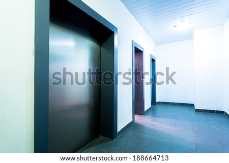 Modern lifts in modern apparts - stock photo