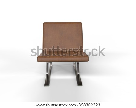 Modern light brown leather armchair - front view - stock photo
