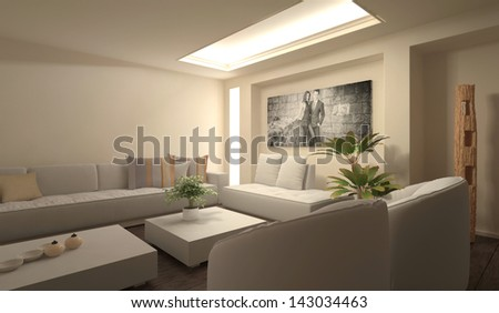Modern light living room interior with huge photography on wall - stock photo