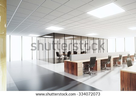 Modern light open space office with conference room 3D Render - stock photo